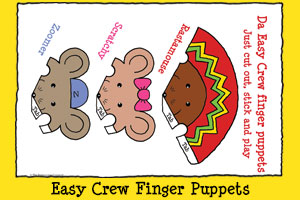 Rastamouse Print-out Activities - Easy Crew Finger Puppets
